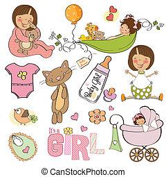 csecsemő, új, leány, állhatatos, alapismeretek