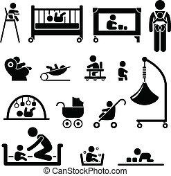 csecsemő, újszülött, gyermek, felszerelés, kölyök