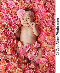csecsemő, agancsrózsák, ágy