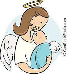 csecsemő, angyal, újszülött, ábra, gyám