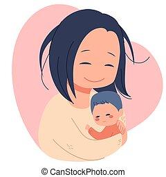 csecsemő, anya, újszülött, birtok