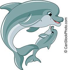 csecsemő, anya, delfin