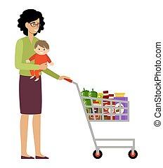 csecsemő, anyagbeszerző, kosár, bevásárlás, nő