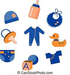 csecsemő, apró, állhatatos, öltözet