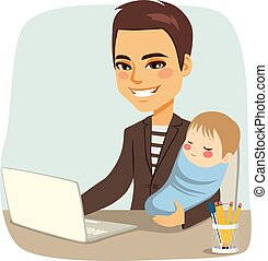 csecsemő, atya, dolgozó