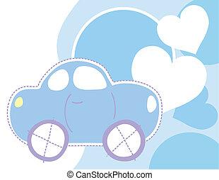 csecsemő, autó, háttér, piros