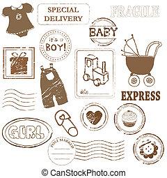 csecsemő, bélyeg, vektor, gyűjtés