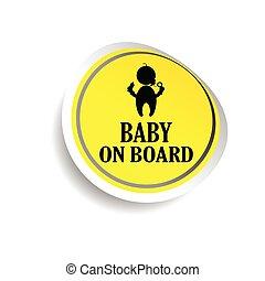 csecsemő, böllér, vektor, bizottság, sárga