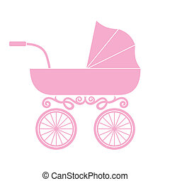 csecsemő, babakocsi, kocsi, -