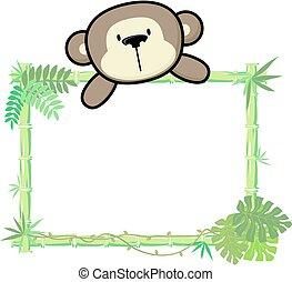 csecsemő, bambusz, majom, keret