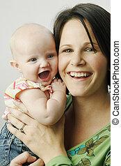 csecsemő, boldog, lány, anya