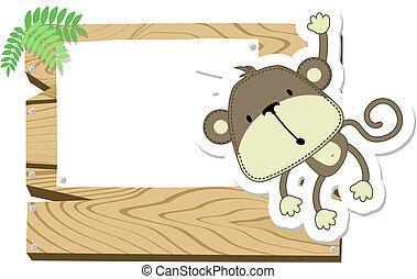 csecsemő, cégtábla, majom