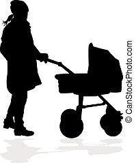 csecsemő, carriage., anya, jár, gyermek