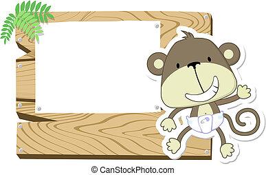 csecsemő, csinos, cégtábla, majom