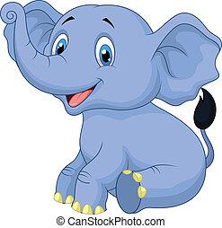 csecsemő, csinos, elefánt, karikatúra, ülés