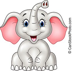 csecsemő, csinos, elefánt, karikatúra, elszigetelt
