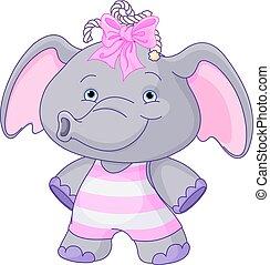 csecsemő, csinos, elefánt