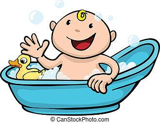 csecsemő, csinos, idő, boldog, fürdőkád