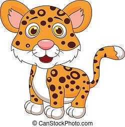 csecsemő, csinos, jaguár, karikatúra