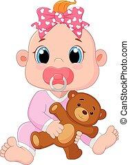 csecsemő, csinos, karikatúra