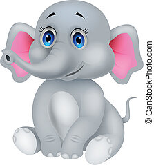 csecsemő, csinos, karikatúra, elefánt
