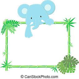 csecsemő, csinos, keret, elefánt