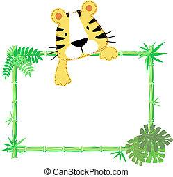 csecsemő, csinos, keret, tiger
