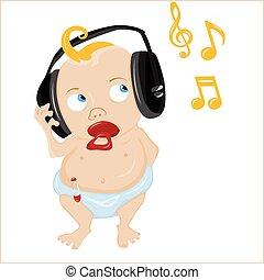 csecsemő, csinos, music., néhány, kihallgatás