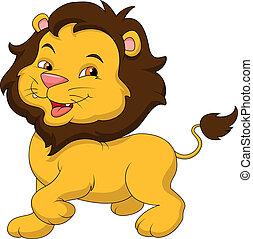csecsemő, csinos, oroszlán, karikatúra