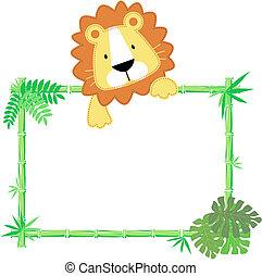 csecsemő, csinos, oroszlán, keret