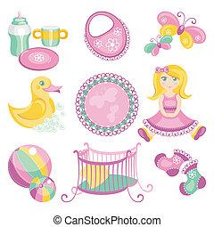 csecsemő, csinos, termékek, ábra