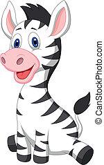 csecsemő, csinos, zebra, karikatúra