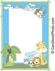 csecsemő, dzsungel, állat