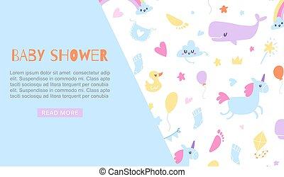 csecsemő, egyszarvú, kacsa, apró, vektor, -e, állatok, csinos, háló, illustration., kék, transzparens, sablon, fiú, text., gyerekek, meghívás, zápor, karikatúra, bálna, backdrop., állás
