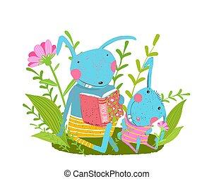 csecsemő, erdő, könyv, család, rabbit., csinos, üregi nyúl, felolvasás, szülő
