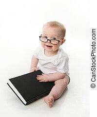 csecsemő, fárasztó, olvas szemüveg