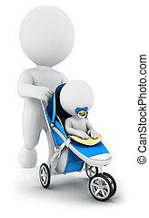 csecsemő, fehér, 3, sétáló, emberek