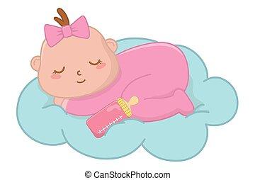csecsemő, felhő, alvás
