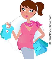 csecsemő fiú, anyu, várakozik awaiting, terhes