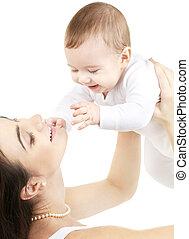 csecsemő fiú, boldog, anya