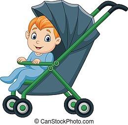 csecsemő fiú, boldog, sétáló, karikatúra