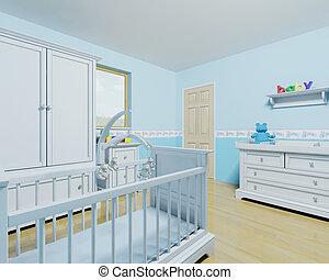 csecsemő fiú, gyermekszoba