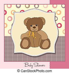 csecsemő, fogadtatás, kártya, hord, teddy-mackó