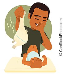 csecsemő, furcsa, ember, pelenka cserél