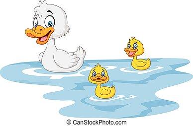 csecsemő, furcsa, kacsa, karikatúra, anya
