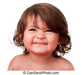 csecsemő, furcsa, totyogó kisgyerek, vidám arc