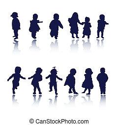 csecsemő, gyerekek, gyerekek, körvonal
