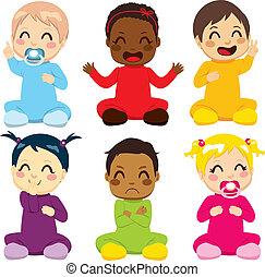 csecsemő, gyerekek, multi-ethnic