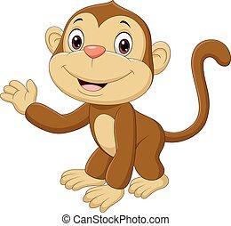 csecsemő, hullámzás, kéz, majom, csinos