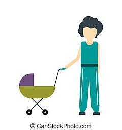 csecsemő, ikon, sétáló, anya